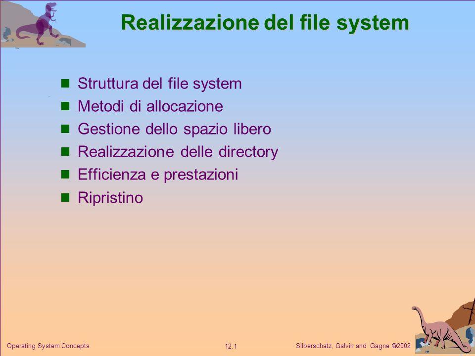 Silberschatz, Galvin and Gagne 2002 12.12 Operating System Concepts Gestione dello spazio libero Vettore di bit Vettore di bit (n blocchi) Calcolo del numero del primo blocco libero.
