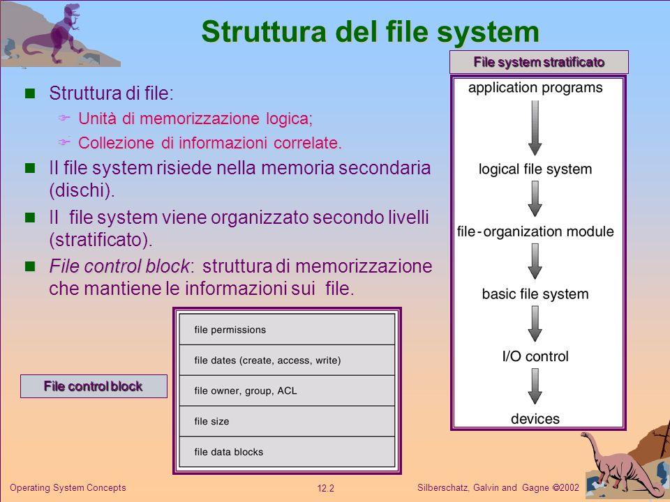 Silberschatz, Galvin and Gagne 2002 12.3 Operating System Concepts Metodi di allocazione La natura di accesso diretto dei dischi garantisce flessibiltà nellimplementazione dei file.