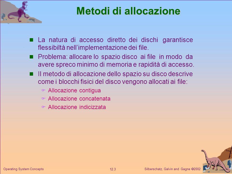 Silberschatz, Galvin and Gagne 2002 12.4 Operating System Concepts Allocazione contigua Ciascun file occupa un insieme di blocchi contigui sul disco.