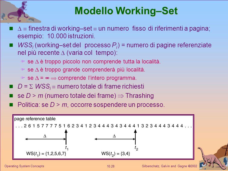 Silberschatz, Galvin and Gagne 2002 10.27 Operating System Concepts Località in una sequenza di riferimenti a memoria Le località hanno una connotazio