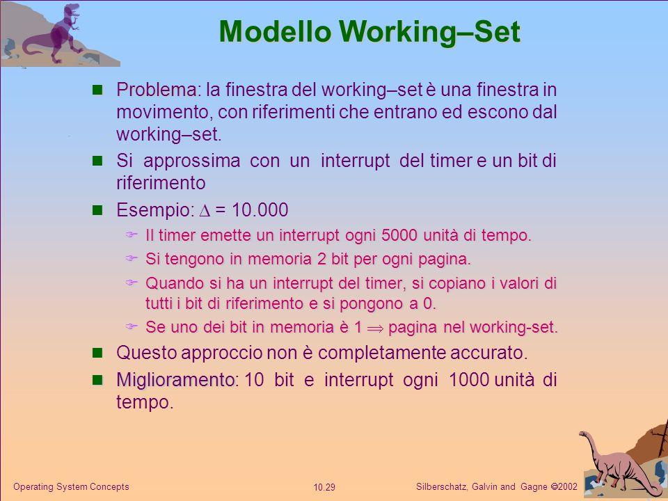 Silberschatz, Galvin and Gagne 2002 10.28 Operating System Concepts Modello Working–Set finestra di working–set un numero fisso di riferimenti a pagin