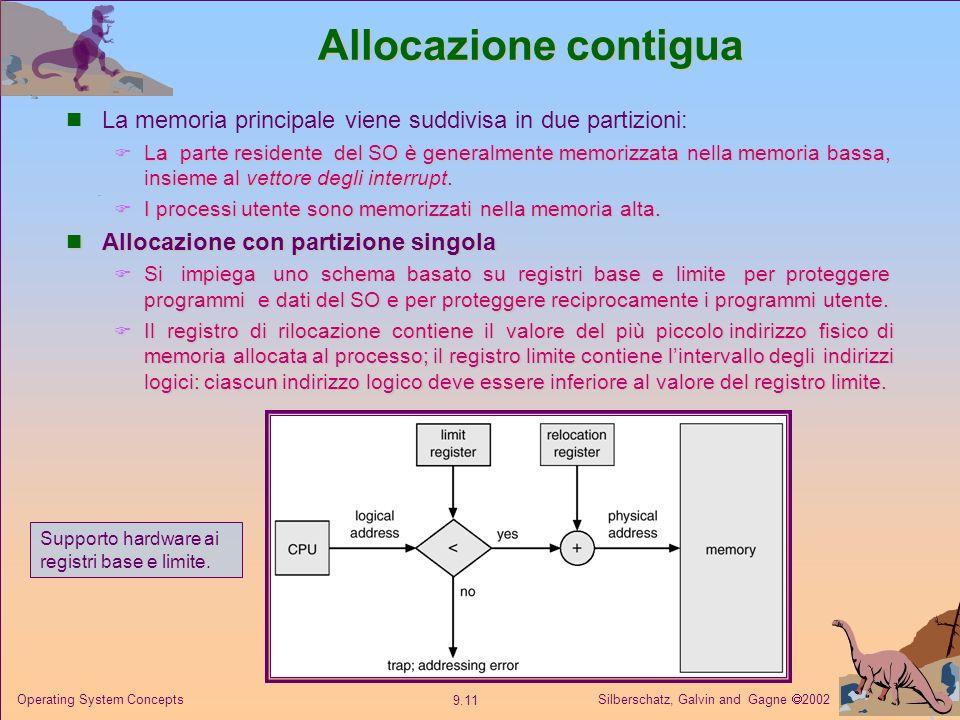 Silberschatz, Galvin and Gagne 2002 9.11 Operating System Concepts Allocazione contigua La memoria principale viene suddivisa in due partizioni: La pa