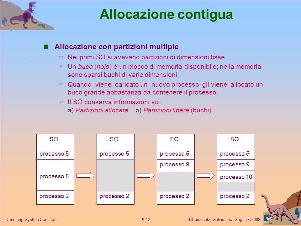 Silberschatz, Galvin and Gagne 2002 9.12 Operating System Concepts Allocazione contigua Allocazione con partizioni multiple Allocazione con partizioni