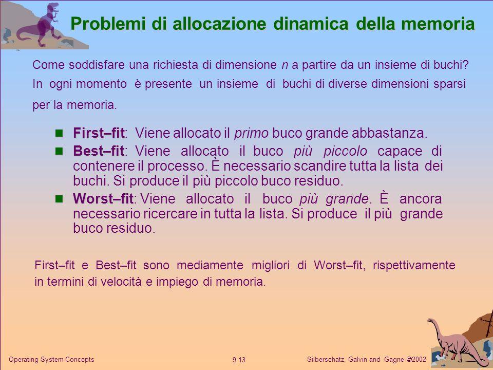 Silberschatz, Galvin and Gagne 2002 9.13 Operating System Concepts Problemi di allocazione dinamica della memoria First–fit First–fit: Viene allocato