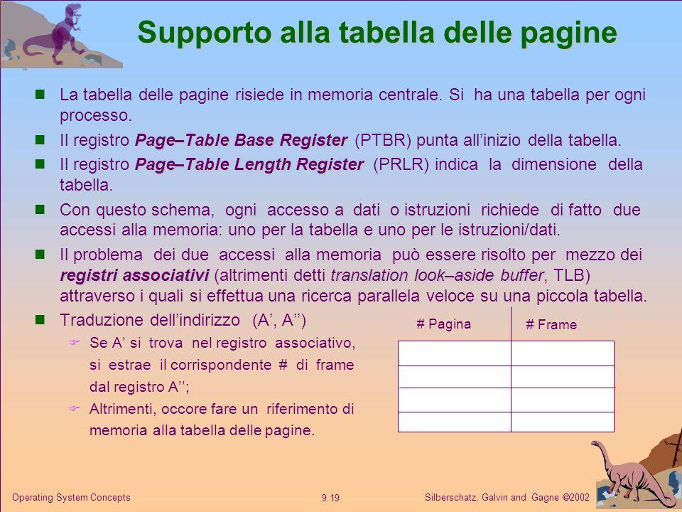 Silberschatz, Galvin and Gagne 2002 9.19 Operating System Concepts Supporto alla tabella delle pagine La tabella delle pagine risiede in memoria centr