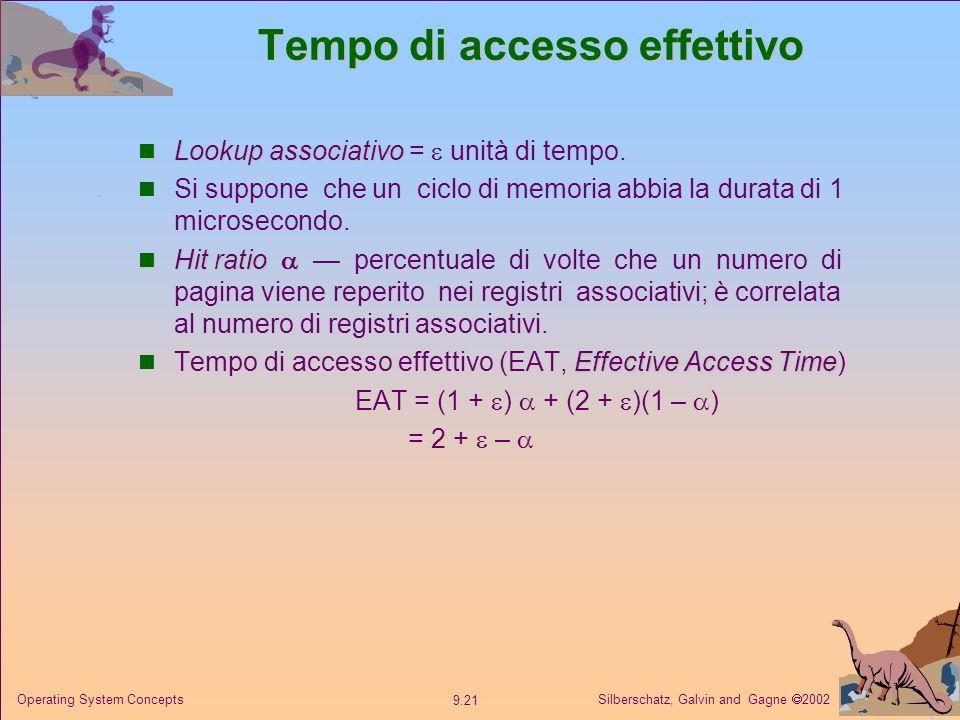 Silberschatz, Galvin and Gagne 2002 9.21 Operating System Concepts Tempo di accesso effettivo Lookup associativo Lookup associativo = unità di tempo.