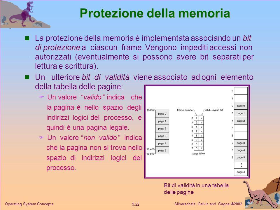 Silberschatz, Galvin and Gagne 2002 9.22 Operating System Concepts Protezione della memoria bit di protezione La protezione della memoria è implementa