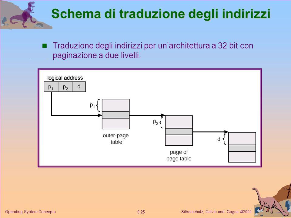 Silberschatz, Galvin and Gagne 2002 9.25 Operating System Concepts Schema di traduzione degli indirizzi Traduzione degli indirizzi per unarchitettura
