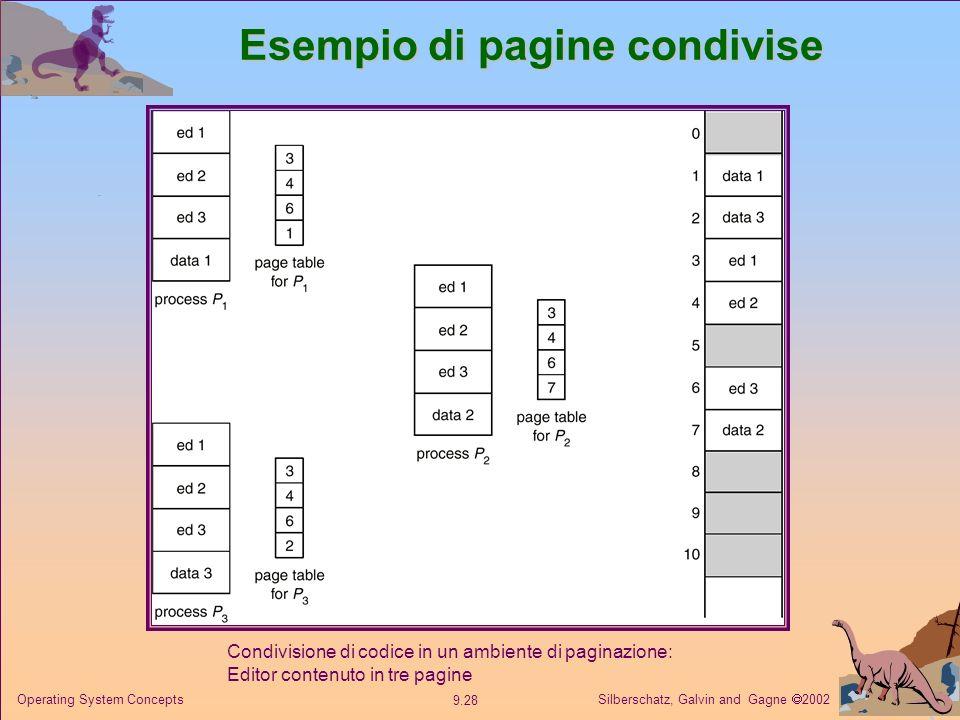 Silberschatz, Galvin and Gagne 2002 9.28 Operating System Concepts Esempio di pagine condivise Condivisione di codice in un ambiente di paginazione: E