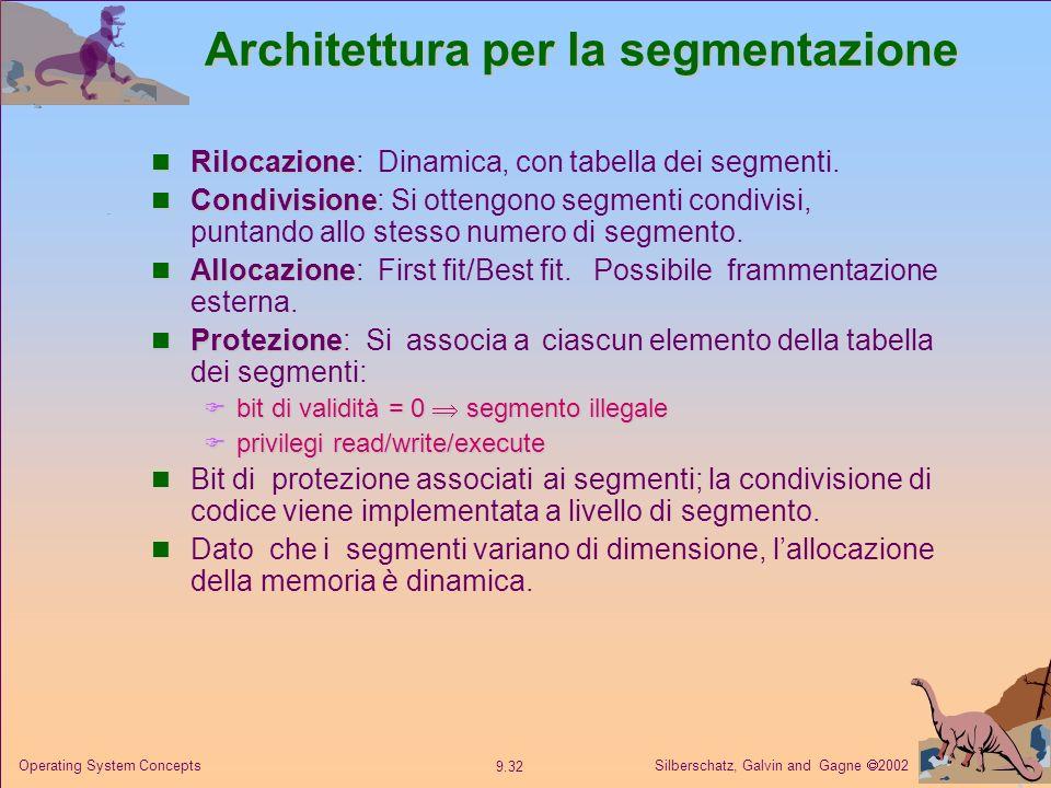Silberschatz, Galvin and Gagne 2002 9.32 Operating System Concepts Architettura per la segmentazione Rilocazione Rilocazione: Dinamica, con tabella de