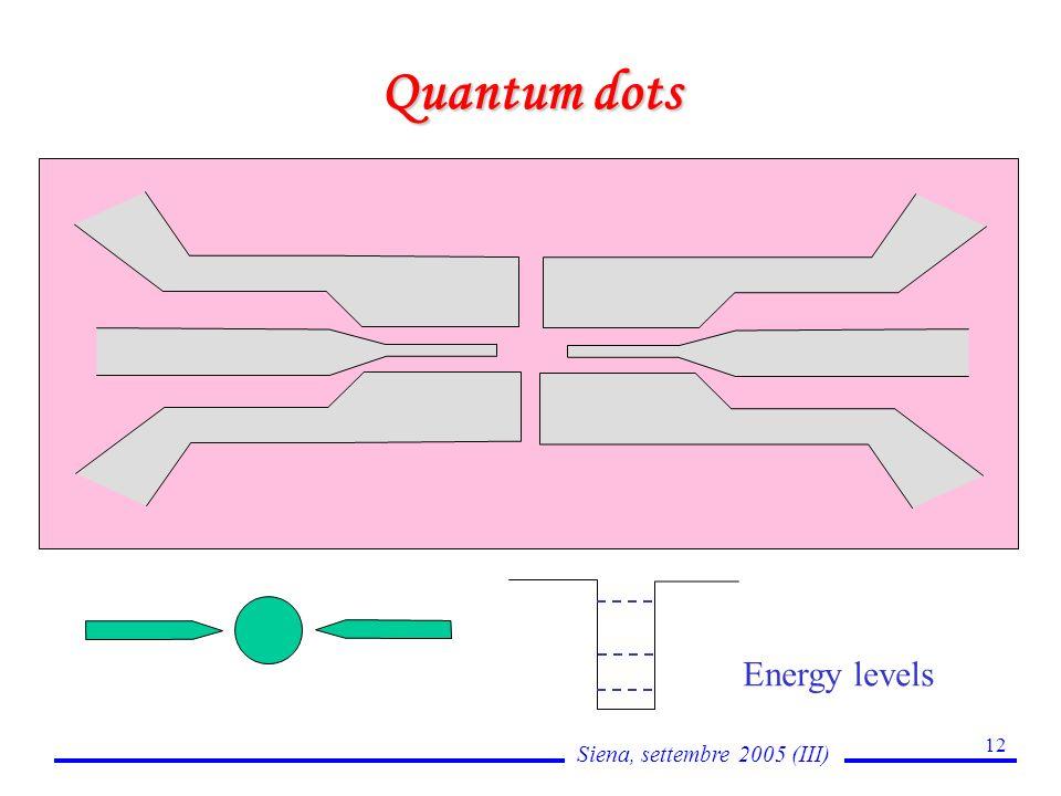 Siena, settembre 2005 (III) 12 Quantum dots Energy levels