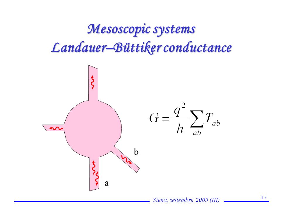 Siena, settembre 2005 (III) 17 Mesoscopic systems Landauer–Büttiker conductance a b