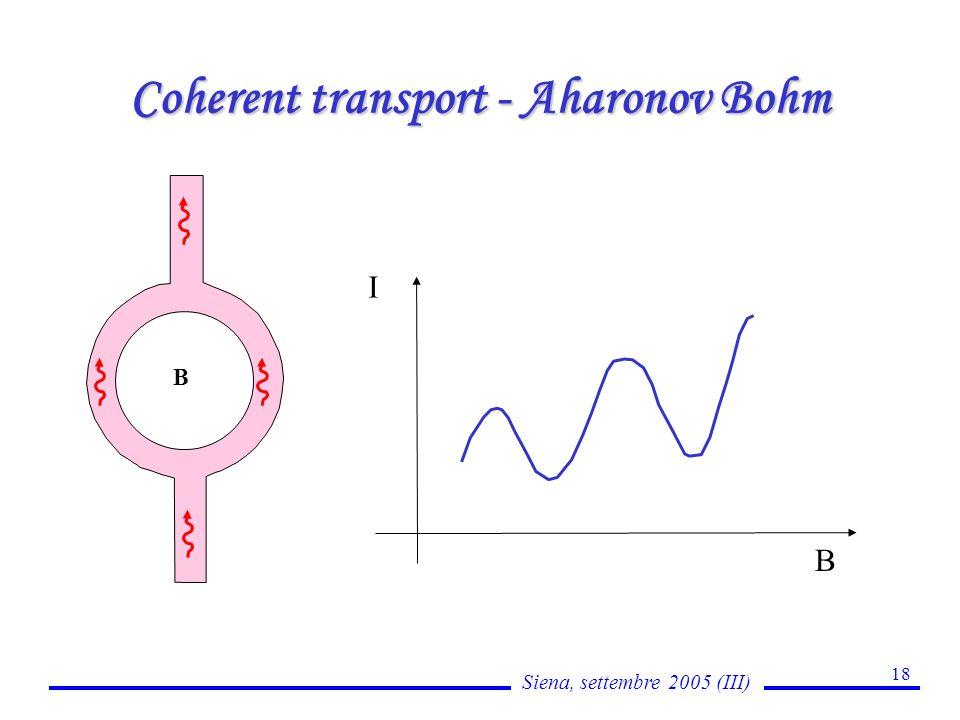Siena, settembre 2005 (III) 18 Coherent transport - Aharonov Bohm B B I