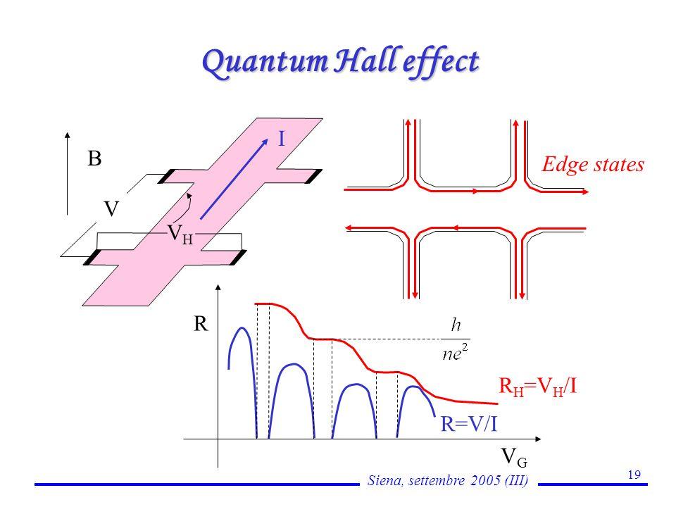 Siena, settembre 2005 (III) 19 Quantum Hall effect R H =V H /I VGVG R R=V/I Edge states V VHVH B I