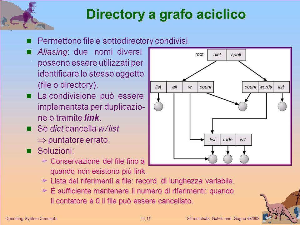 Silberschatz, Galvin and Gagne 2002 11.17 Operating System Concepts Directory a grafo aciclico Permettono file e sottodirectory condivisi. Aliasing Al