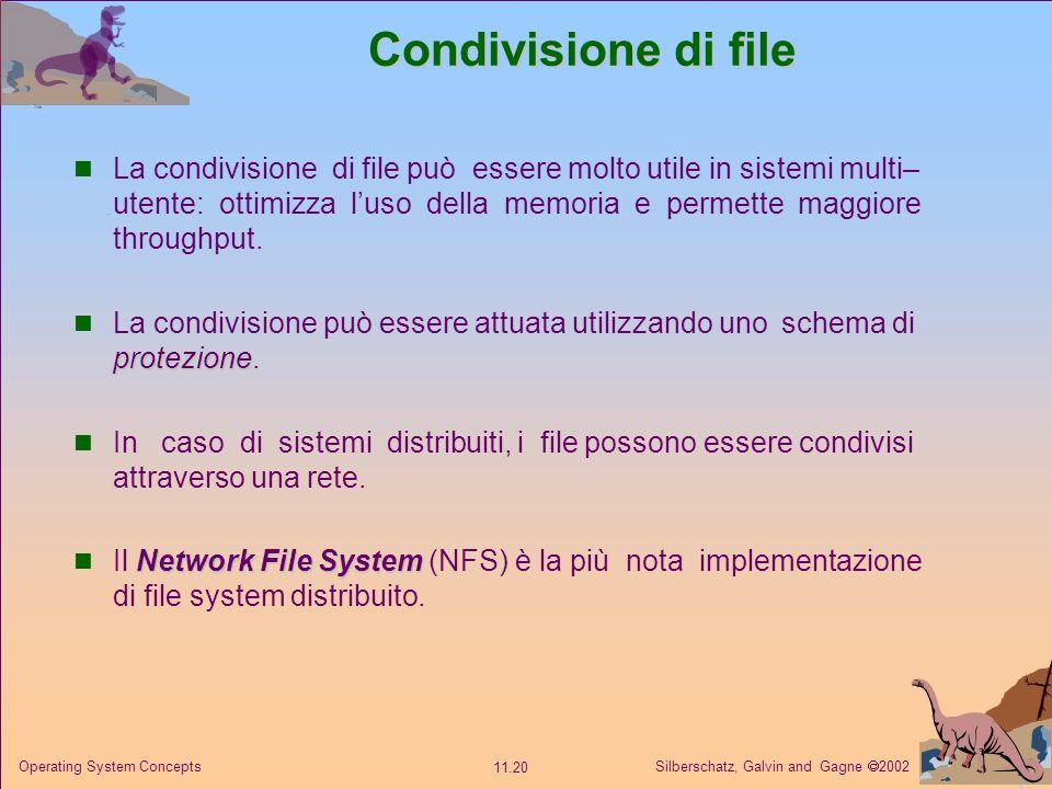 Silberschatz, Galvin and Gagne 2002 11.20 Operating System Concepts Condivisione di file La condivisione di file può essere molto utile in sistemi mul
