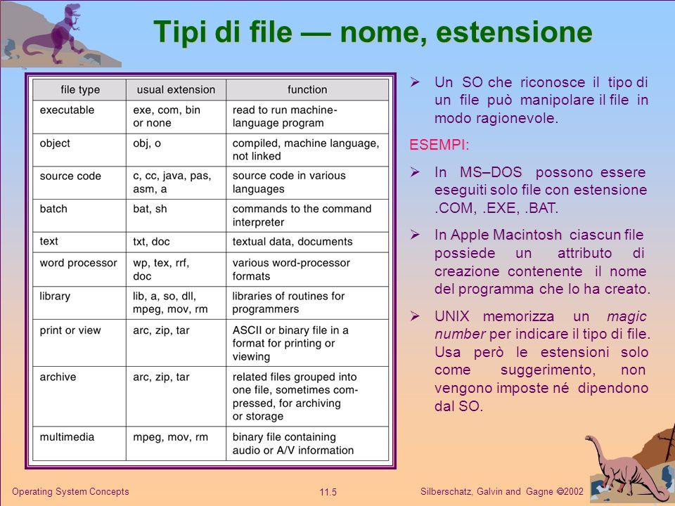 Silberschatz, Galvin and Gagne 2002 11.5 Operating System Concepts Tipi di file nome, estensione Un SO che riconosce il tipo di un file può manipolare