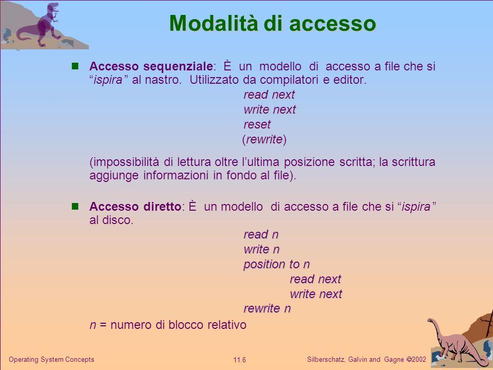 Silberschatz, Galvin and Gagne 2002 11.6 Operating System Concepts Modalità di accesso Accesso sequenziale: È un modello di accesso a file che siispir