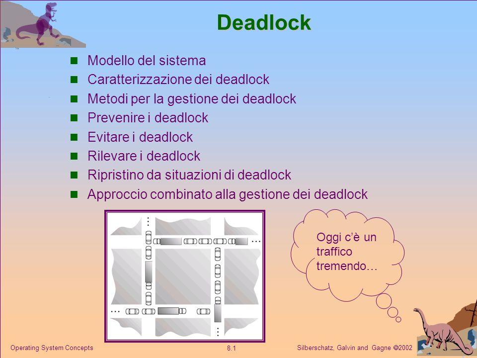 Silberschatz, Galvin and Gagne 2002 8.1 Operating System ConceptsDeadlock Modello del sistema Caratterizzazione dei deadlock Metodi per la gestione dei deadlock Prevenire i deadlock Evitare i deadlock Rilevare i deadlock Ripristino da situazioni di deadlock Approccio combinato alla gestione dei deadlock Oggi cè un traffico tremendo…
