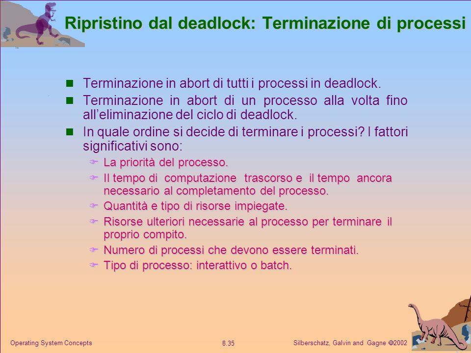 Silberschatz, Galvin and Gagne 2002 8.35 Operating System Concepts Ripristino dal deadlock: Terminazione di processi Terminazione in abort di tutti i processi in deadlock.