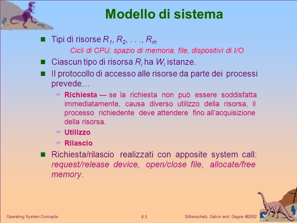 Silberschatz, Galvin and Gagne 2002 8.5 Operating System Concepts Modello di sistema Tipi di risorse R 1, R 2,..., R m Cicli di CPU, spazio di memoria, file, dispositivi di I/O Ciascun tipo di risorsa R i ha W i istanze.