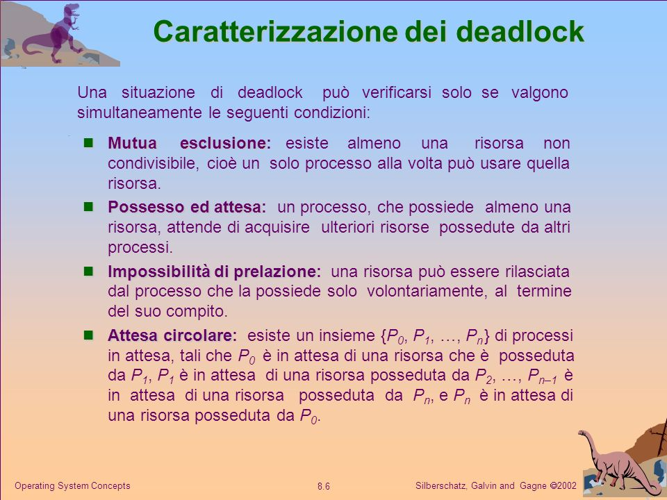Silberschatz, Galvin and Gagne 2002 8.6 Operating System Concepts Caratterizzazione dei deadlock Mutua esclusione Mutua esclusione: esiste almeno una risorsa non condivisibile, cioè un solo processo alla volta può usare quella risorsa.