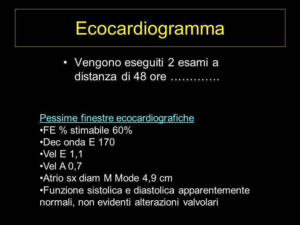 Ecocardiogramma Vengono eseguiti 2 esami a distanza di 48 ore ………….