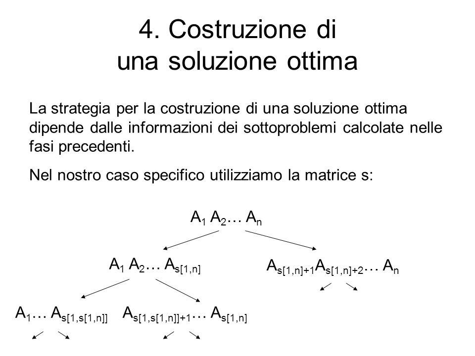 4. Costruzione di una soluzione ottima La strategia per la costruzione di una soluzione ottima dipende dalle informazioni dei sottoproblemi calcolate