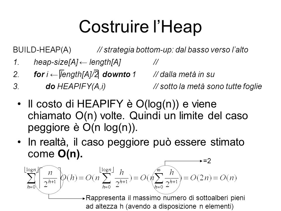 Costruire lHeap Il costo di HEAPIFY è O(log(n)) e viene chiamato O(n) volte. Quindi un limite del caso peggiore è O(n log(n)). In realtà, il caso pegg