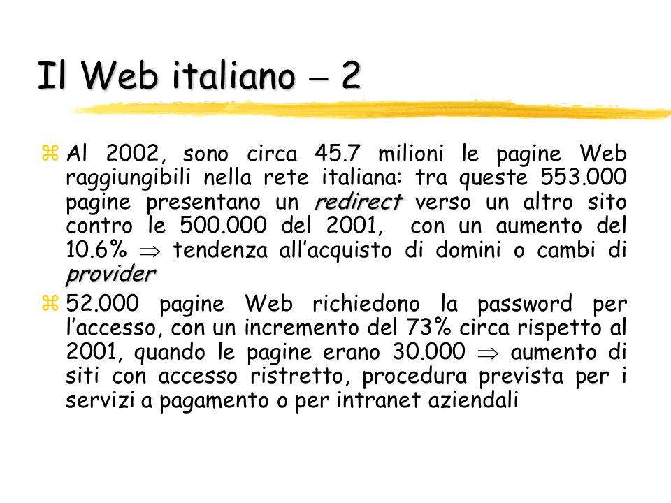 Il Web italiano 1 Il Trovatore zIl motore di ricerca italiano Il Trovatore ha raccolto i dati 2002 sulle dimensioni del Web italiano: yDallanalisi di circa 260mila siti italiani è emerso che il Web Italiano (it, sm, va) era costituito da circa 48 milioni di pagine File not Found yAumentano considerevolmente i link che portano a pagine non più esistenti (rispetto al 2001 viene registrato un incremento del 110%: dai 700000 File not Found del 2001, ai 1472000 del 2002)