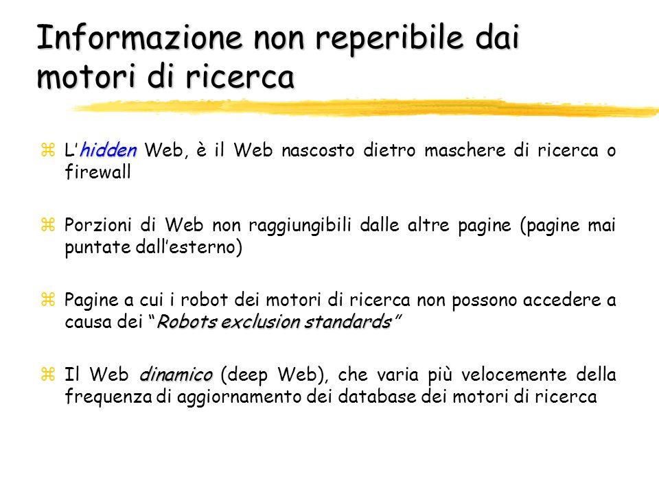 Come i Web navigator usano i motori di ricerca zLe interrogazioni fatte in base ad ununica chiave di ricerca sono il 50%, mentre l1% dei termini più usati è presente nel 10% delle interrogazioni zLa categoria sesso è nettamente la più richiesta zPer una data ricerca, ciascun utente effettua, in media, 4.87 query zIn media, vengono utilizzati 2.11 termini per ricerca; nei normali database, le interrogazioni sono tra 3 e 7 volte più articolate and or zGli operatori booleani (and e or ) sono usati 1 volta ogni 15 query, ma il 33% delle volte non sono immessi in modo corretto zI modificatori (+,, ) sono usati 1 volta ogni 9 query, ma il 75% delle volte lutilizzo è scorretto