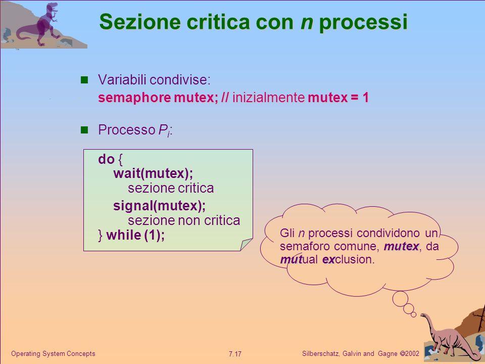 Silberschatz, Galvin and Gagne 2002 7.17 Operating System Concepts Sezione critica con n processi Variabili condivise: semaphore mutex;// inizialmente