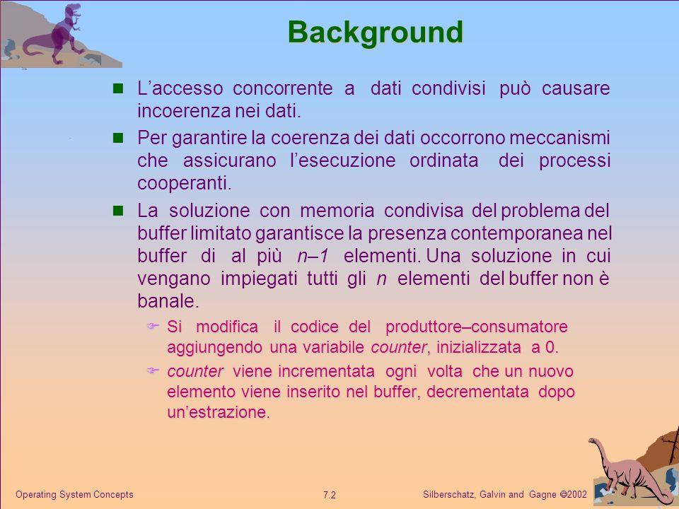 Silberschatz, Galvin and Gagne 2002 7.3 Operating System Concepts Buffer limitato Dati condivisi Dati condivisi #define BUFFER_SIZE 10 typedef struct {...