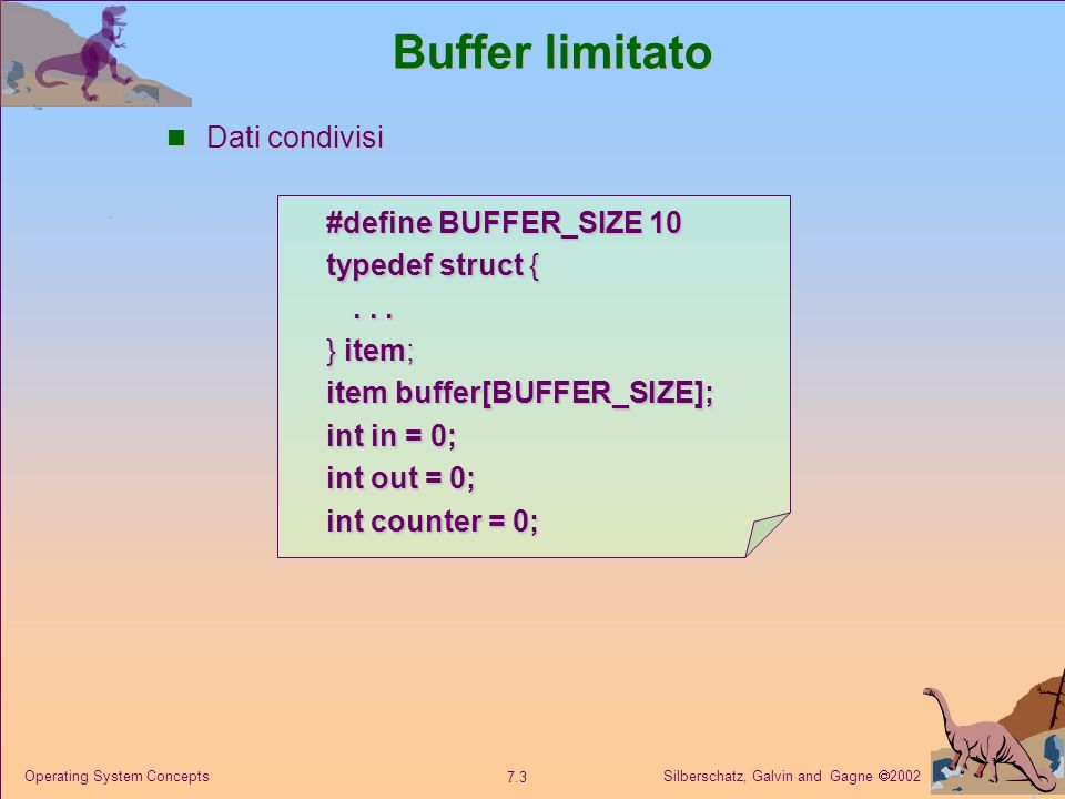 Silberschatz, Galvin and Gagne 2002 7.3 Operating System Concepts Buffer limitato Dati condivisi Dati condivisi #define BUFFER_SIZE 10 typedef struct