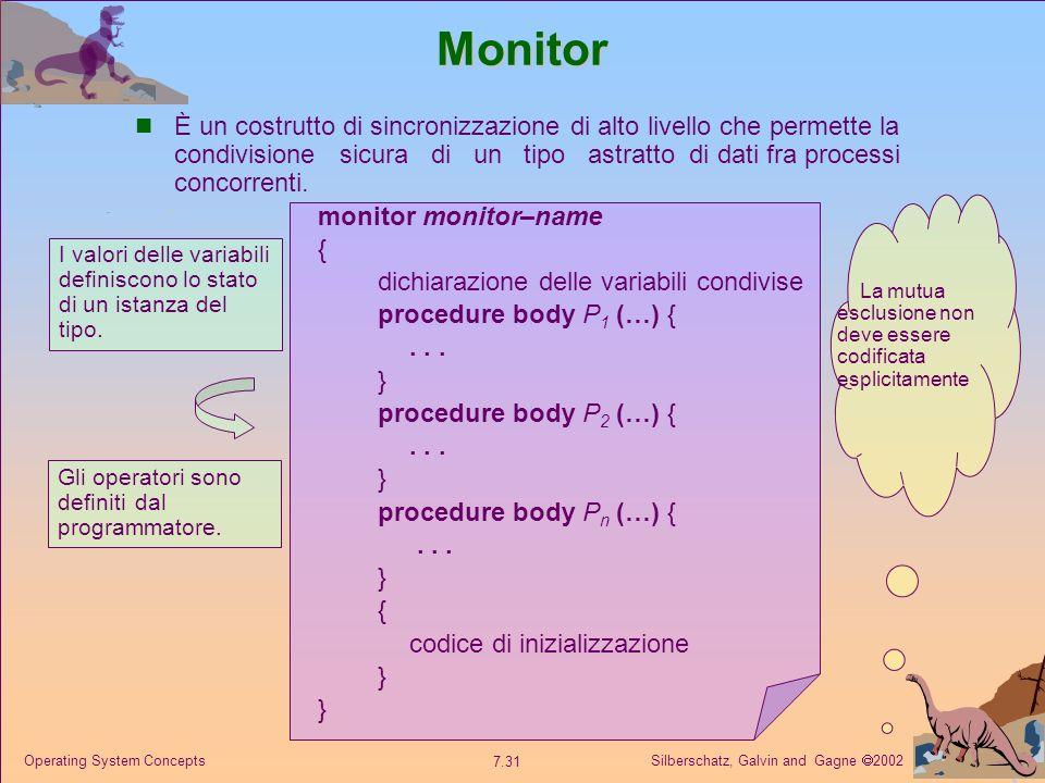 Silberschatz, Galvin and Gagne 2002 7.31 Operating System ConceptsMonitor È un costrutto di sincronizzazione di alto livello che permette la condivisi