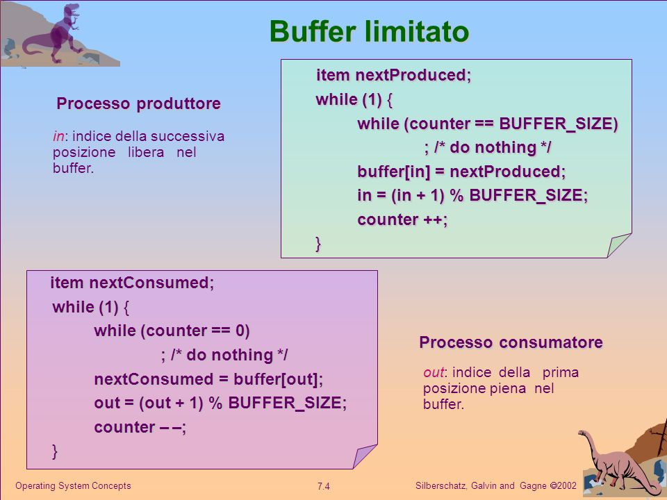 Silberschatz, Galvin and Gagne 2002 7.4 Operating System Concepts Buffer limitato item nextProduced; while (1) { while (counter == BUFFER_SIZE) ; /* do nothing */ buffer[in] = nextProduced; in = (in + 1) % BUFFER_SIZE; counter ++; } item nextConsumed; while (1) { while (counter == 0) ; /* do nothing */ nextConsumed = buffer[out]; out = (out + 1) % BUFFER_SIZE; counter – –; } Processo produttore Processo consumatore in in: indice della successiva posizione libera nel buffer.