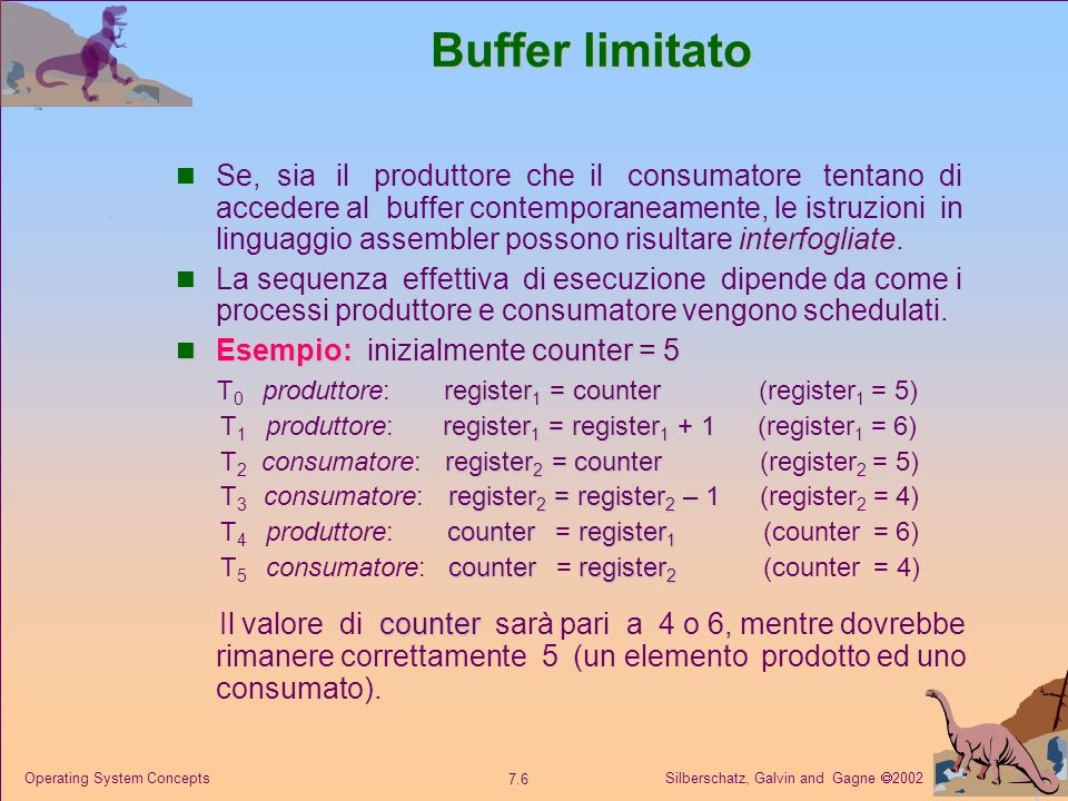 Silberschatz, Galvin and Gagne 2002 7.6 Operating System Concepts Buffer limitato interfogliate Se, sia il produttore che il consumatore tentano di ac