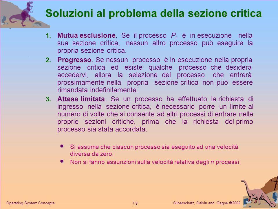 Silberschatz, Galvin and Gagne 2002 7.30 Operating System Concepts Problema dei cinque filosofi Non esclude il deadlock, ad esempio se tutti i filosofi hanno fame contemporaneamente e prendono prima la bacchetta alla loro destra.