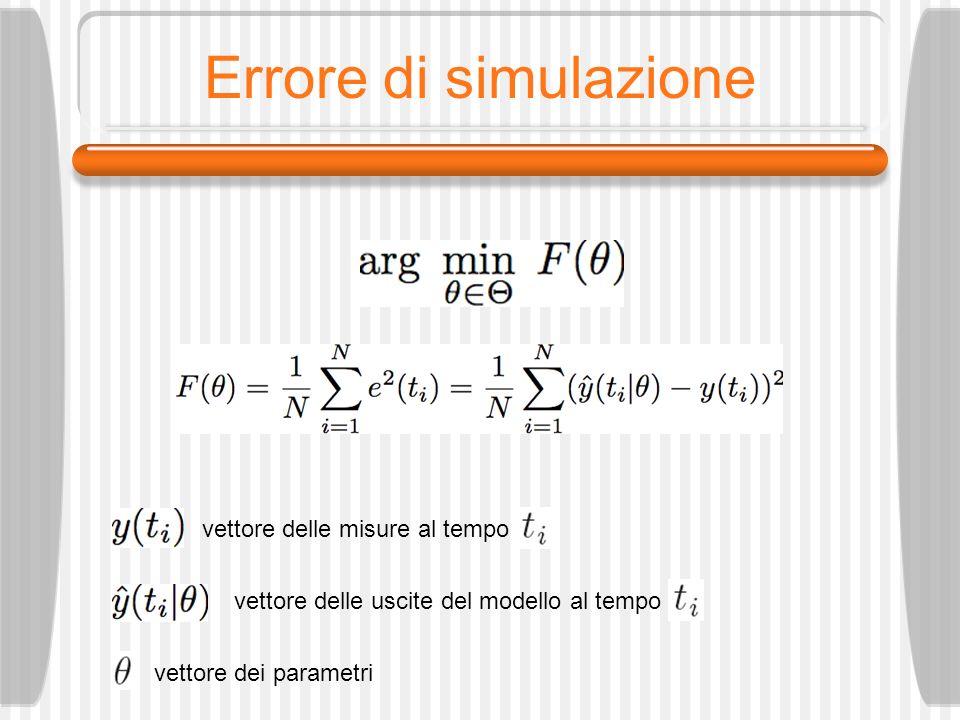 Errore di simulazione vettore delle misure al tempo vettore delle uscite del modello al tempo vettore dei parametri