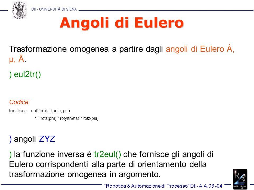 Robotica & Automazione di Processo DII- A.A.03 -04 Angoli di Eulero Trasformazione omogenea a partire dagli angoli di Eulero Á, µ, Ã.