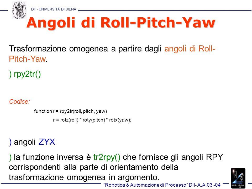 Robotica & Automazione di Processo DII- A.A.03 -04 Angoli di Roll-Pitch-Yaw Trasformazione omogenea a partire dagli angoli di Roll- Pitch-Yaw.