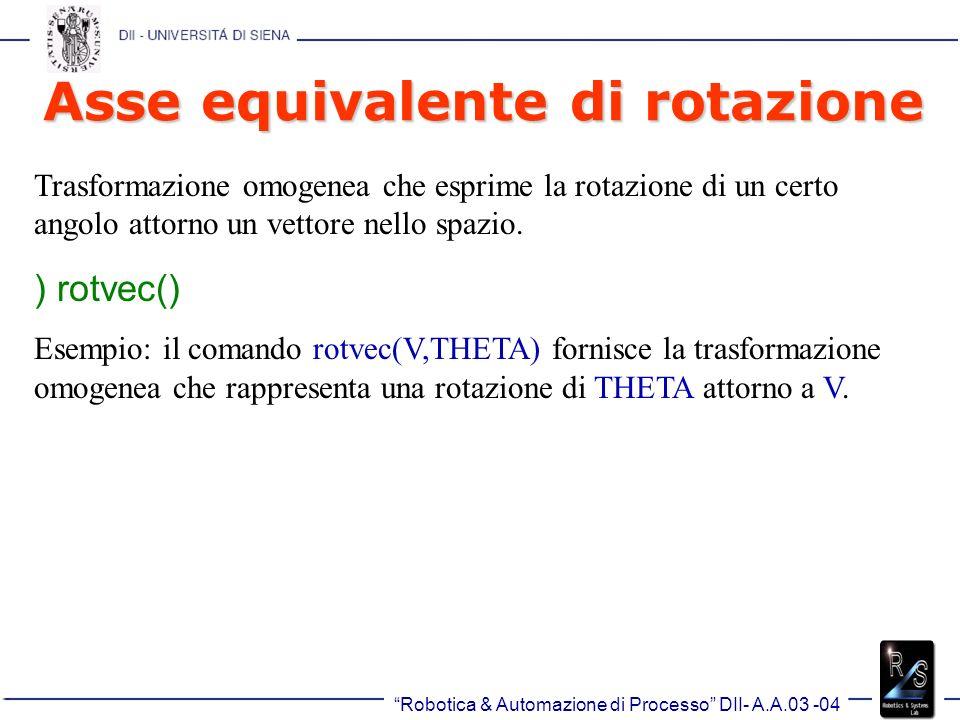 Robotica & Automazione di Processo DII- A.A.03 -04 Asse equivalente di rotazione Trasformazione omogenea che esprime la rotazione di un certo angolo attorno un vettore nello spazio.
