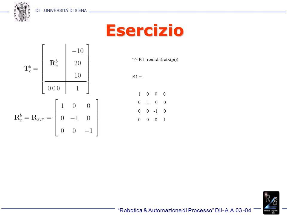 Robotica & Automazione di Processo DII- A.A.03 -04 Esercizio >> R1=roundn(rotx(pi)) R1 = 1 0 0 0 0 -1 0 0 0 0 -1 0 0 0 0 1