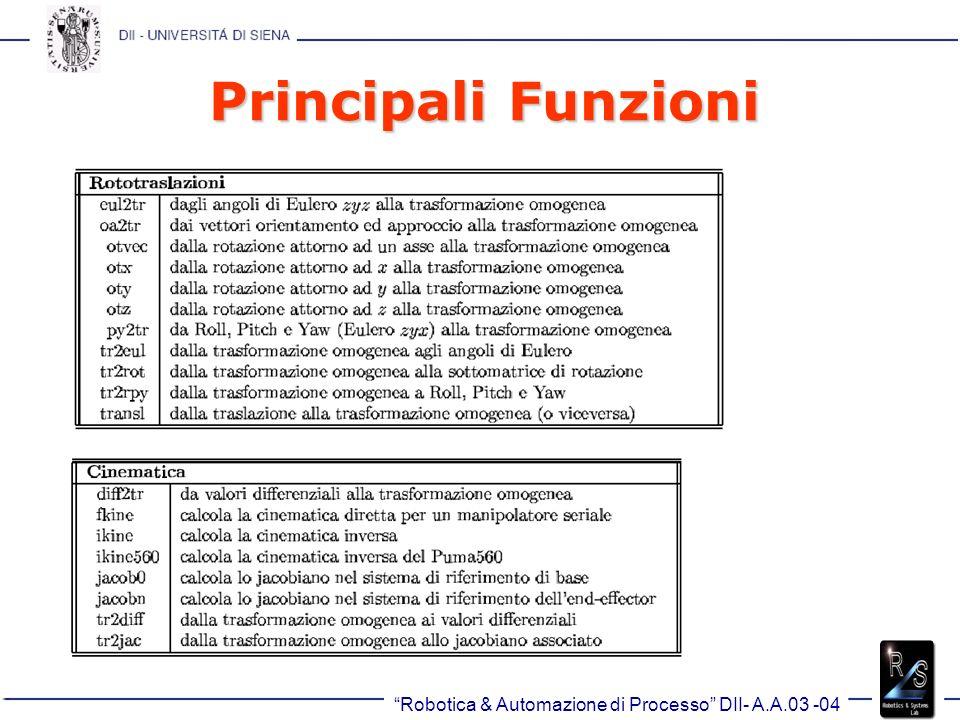 Robotica & Automazione di Processo DII- A.A.03 -04 Principali Funzioni