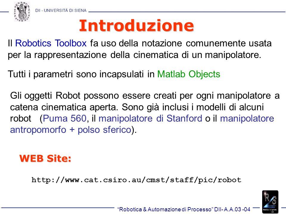 Robotica & Automazione di Processo DII- A.A.03 -04 Introduzione Il Robotics Toolbox fa uso della notazione comunemente usata per la rappresentazione della cinematica di un manipolatore.