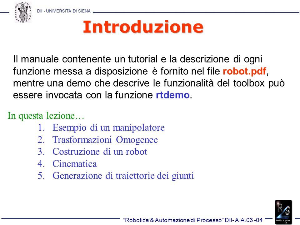Robotica & Automazione di Processo DII- A.A.03 -04 Introduzione Il manuale contenente un tutorial e la descrizione di ogni funzione messa a disposizione è fornito nel file robot.pdf, mentre una demo che descrive le funzionalità del toolbox può essere invocata con la funzione rtdemo.