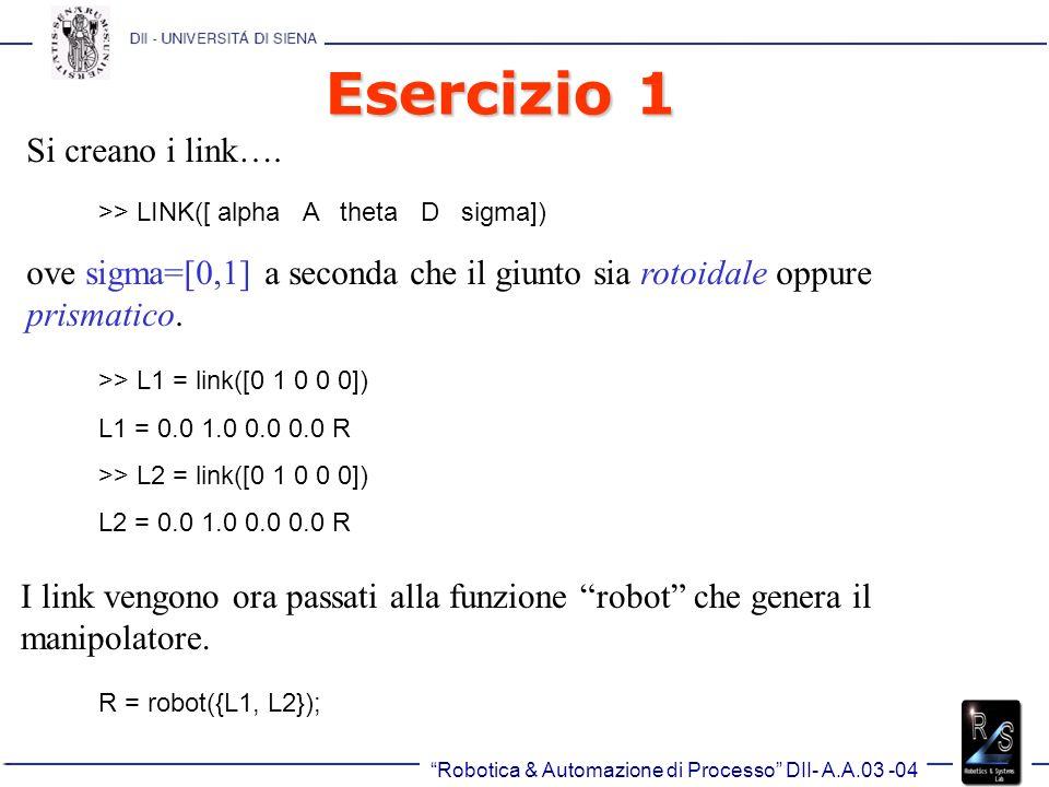 Robotica & Automazione di Processo DII- A.A.03 -04 Esercizio 1 >> R R = (2 axis, RR) grav = [0.00 0.00 9.81]standard D&H parameters alpha A theta D R/P0.0000001.000000 0.0000000.000000R 0.0000001.000000 0.0000000.000000R E possibile dare anche un nome al manipolatore, un produttore, etc.