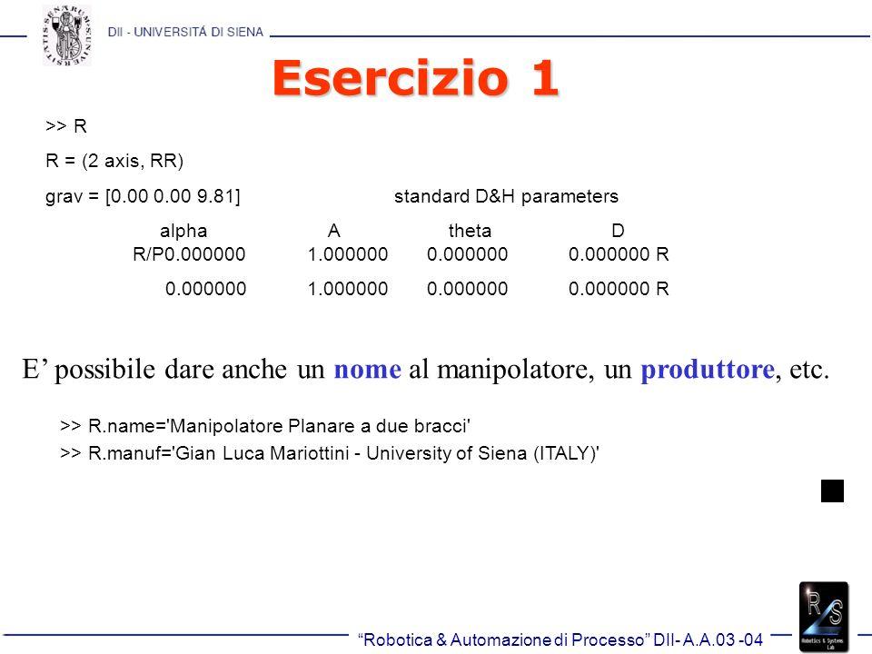 Robotica & Automazione di Processo DII- A.A.03 -04 Trasformazioni Omogenee >> transl(0.5, 0.0, 0.0) Pura traslazione: Codice: function r = transl(x, y, z) t = [x; y; z]; r = [ eye(3) t; 0 0 0 1]; ans= Columns 1 through 4 1 0 0 0 1 0 0 0 1 0 0 0 5.000000000000000e-001 0 1.000000000000000e+000