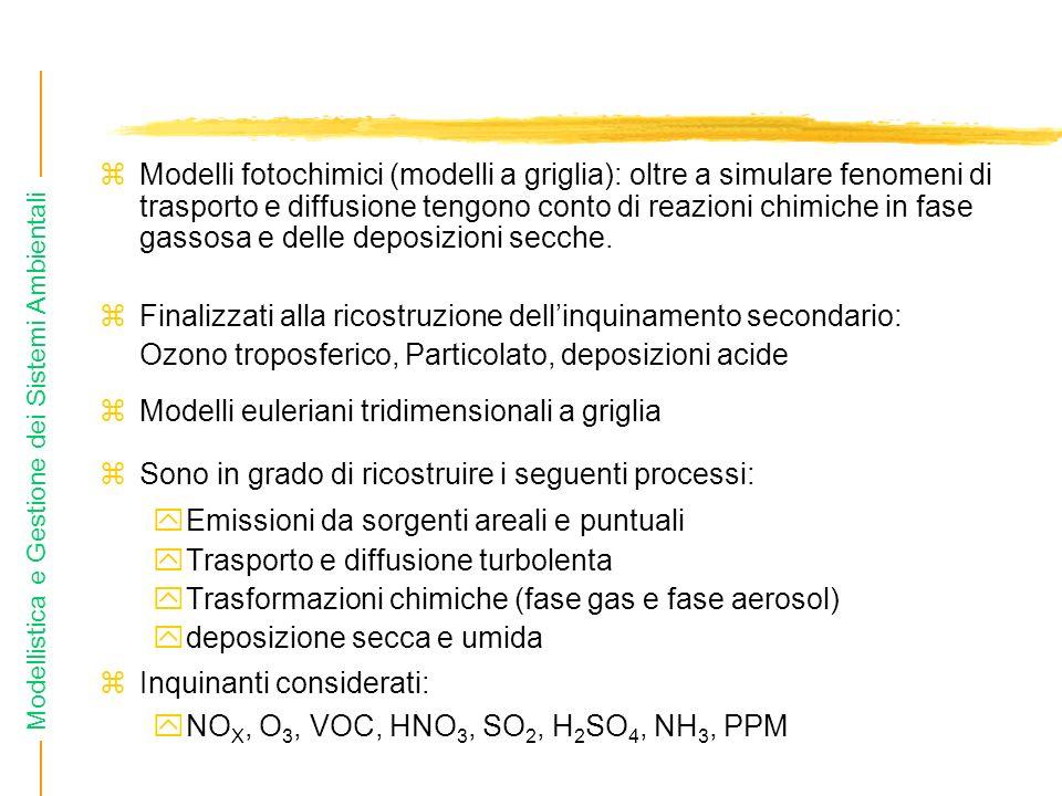 Modellistica e Gestione dei Sistemi Ambientali zModelli fotochimici (modelli a griglia): oltre a simulare fenomeni di trasporto e diffusione tengono c