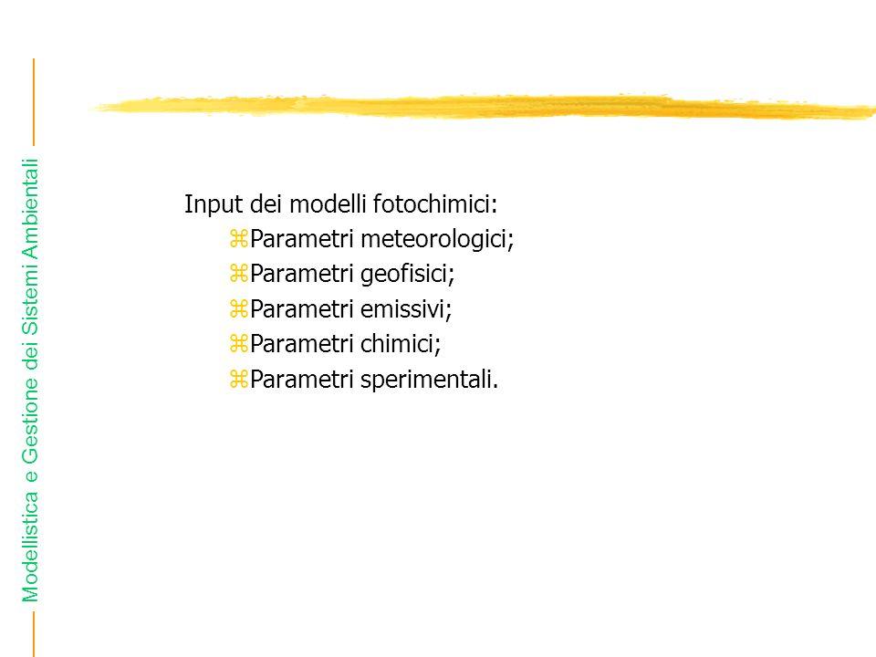 Modellistica e Gestione dei Sistemi Ambientali Input dei modelli fotochimici: zParametri meteorologici; zParametri geofisici; zParametri emissivi; zPa